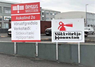 Álskilti fyrir Öryggismiðstöðina Askalind 2a Kópavogi