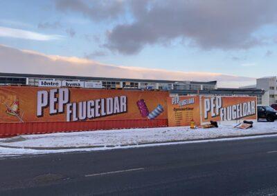 Seglskilti fyrir PEP flugelda Höfða