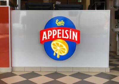Útfræst skilti fyrir Appelsín